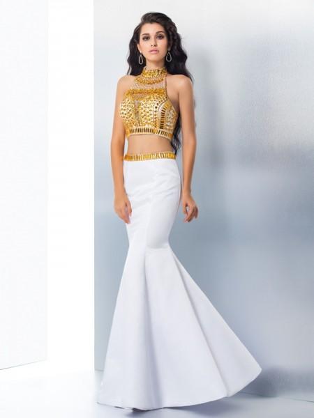 Sirène/Trompette Col montant Perles Sans Manches Longue Satin Robes
