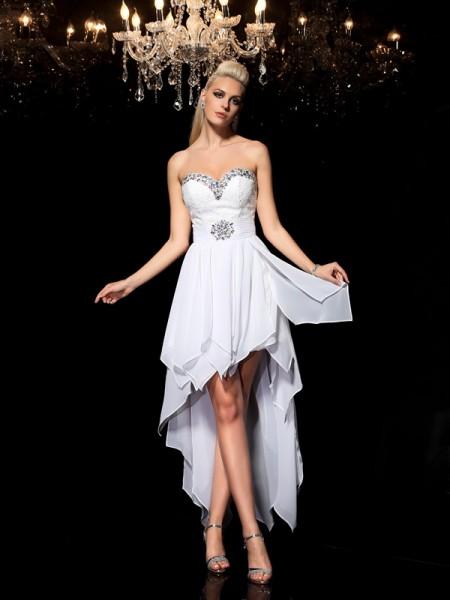 Trapèze/Princesse Col en coeur Perles Sans Manches Traîne asymétrique Mousseline Robes de cocktail