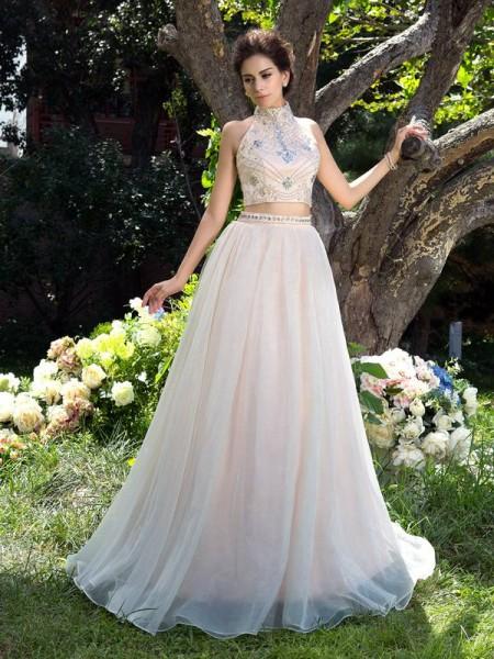 Trapèze/Princesse Col montant Perles Sans Manches Longue Voile Deux pièces Robes