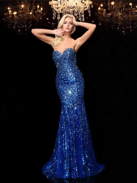 Sirène/Trompette Col en coeur Sequins Sans Manches Longue Sequinss Robes