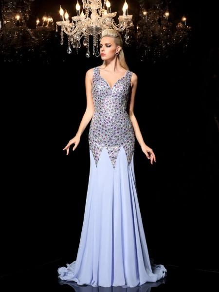 Fourreau Avec bretelles Faux diamants Sans Manches Longue Mousseline Robes