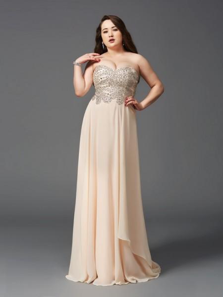Trapèze/Princesse Col en coeur Faux diamants Sans Manches Longue Mousseline Grande taille Robes