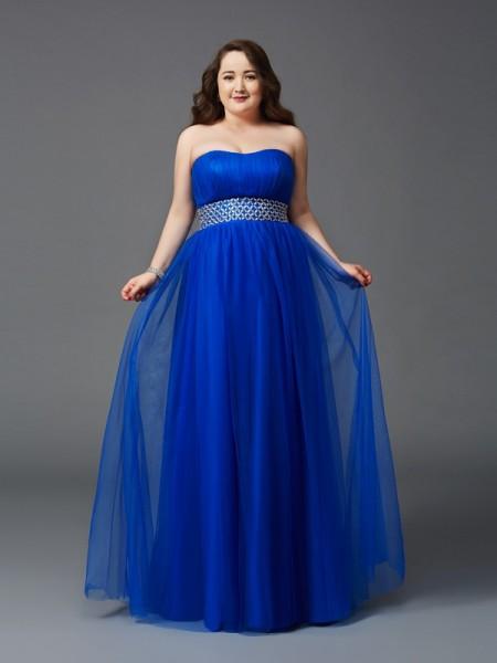 Trapèze/Princesse Sans bretelles Faux diamants Sans Manches Longue Voile Grande taille Robes