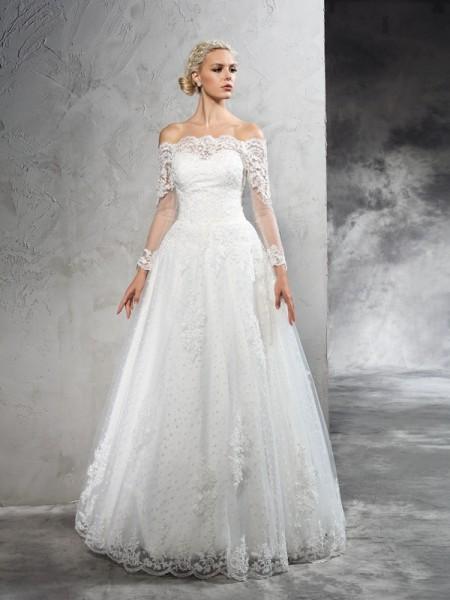 Robe de bal Épaules dégagées Dentelle Manches Longueues Longue Voile Robes de Mariée