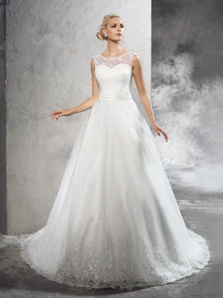 Robe de bal Sheer Neck Rubans/Ceintures Sans Manches Longue Voile Robes de Mariée