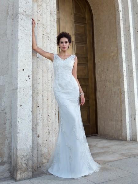 Sirène/Trompette Col en V Appliqués Sans Manches Longue Voile Robes de Mariée