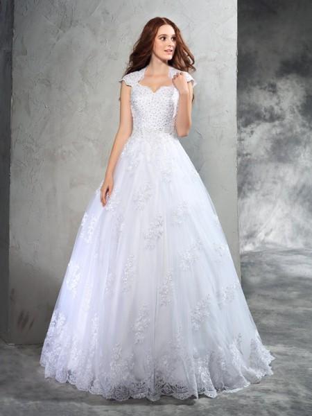 Robe de bal Col en coeur Dentelle Sans Manches Longue Organza Robes de Mariée