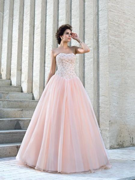 Robe de bal Sans bretelles Perles Sans Manches Longue Satin Robes de Mariée