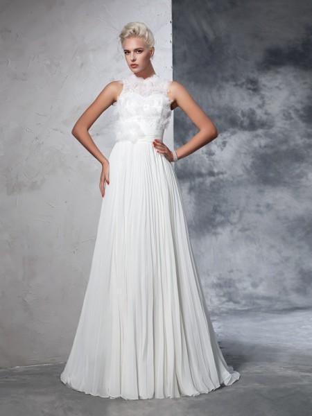 Trapèze/Princesse Col montant Plis Sans Manches Longue Mousseline Robes de Mariée