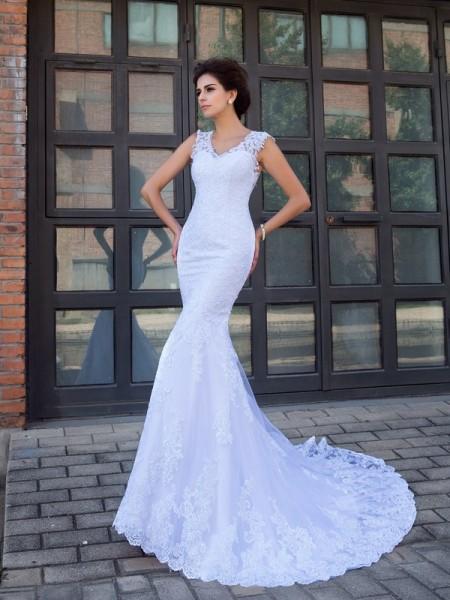 Sirène/Trompette Col en V Appliqués Sans Manches Longue Satin Robes de Mariée