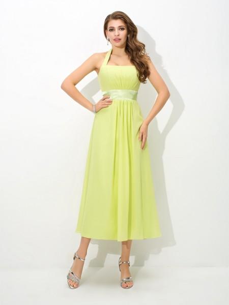 Trapèze Princesse Licou Plis Sans Manches Longue Mousseline Robes de demoiselle  d honneur 62339d013c6c