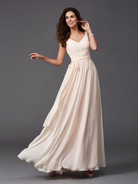 Trapèze/Princesse Avec bretelles Rubans/Ceintures Sans Manches Longue Mousseline Robes de demoiselle d'honneur