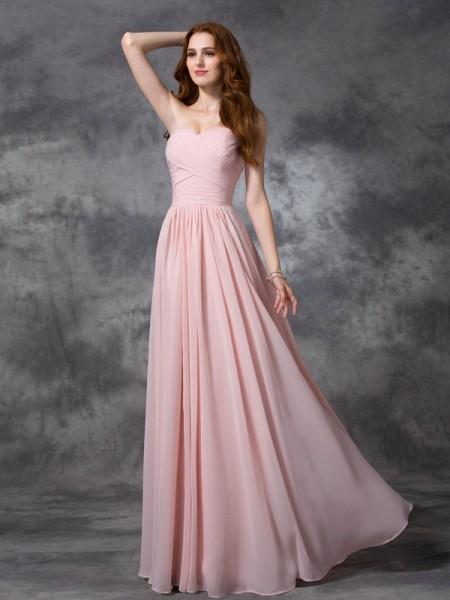 Trapèze/Princesse Col en coeur Sans Manches Froncée Longue Mousseline Robes de demoiselle d'honneur