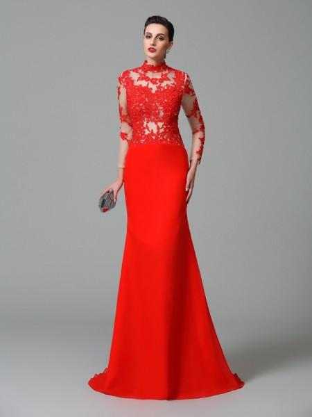 Sirène/Trompette Col montant Appliqués Manches Longueues Longue Mousseline Robes