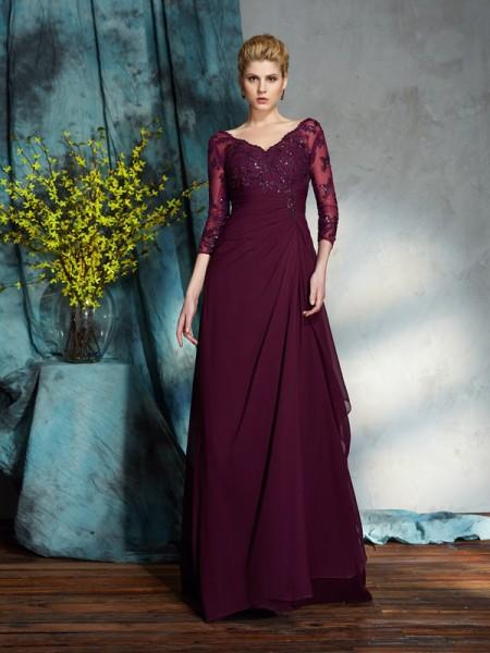 29f5648c145 Trapèze Princesse Col en V Perles Manches ¾ Longue Mousseline Robes des  mères des mariés