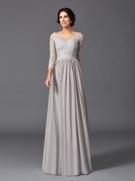 Trapèze/Princesse Col en V Volants Manches ¾ Longue Mousseline Robes des mères des mariés