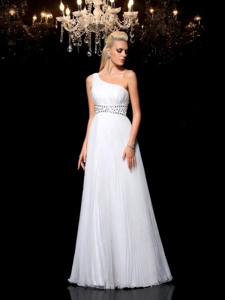 01c13e52508 Trapèze Princesse Col asymétrique Perles Sans Manches Longue Organza Robes