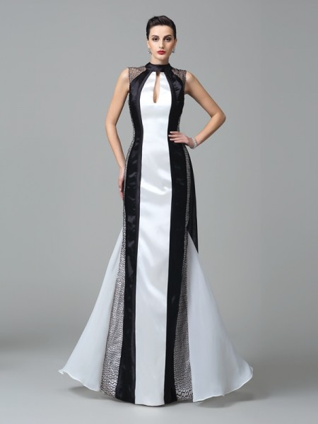 ab4ee65eeae Fourreau Col montant Plis Sans Manches Longue Mousseline Robes