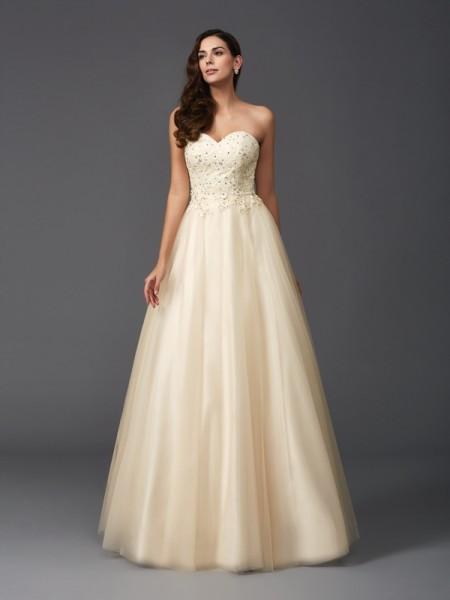 Trapèze/Princesse Col en coeur Perles Sans Manches Longue Voile Robes