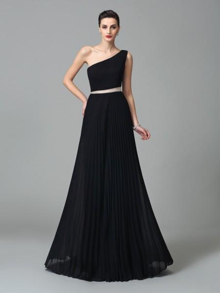 Trapèze/Princesse Col asymétrique Plis Sans Manches Longue Mousseline Robes