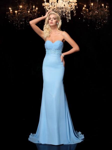 Sirène/Trompette Col en coeur Faux diamants Sans Manches Longue Mousseline Robes