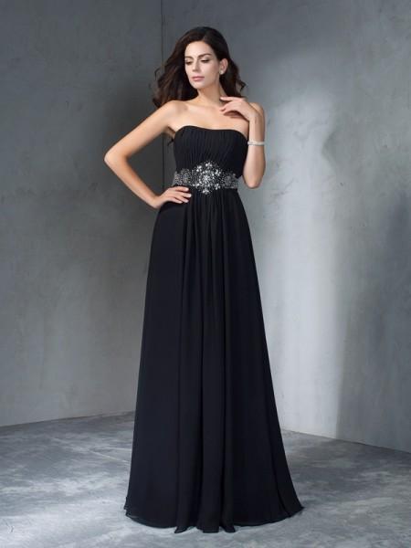 Trapèze/Princesse Sans bretelles Perles Sans Manches Longue Mousseline Robes