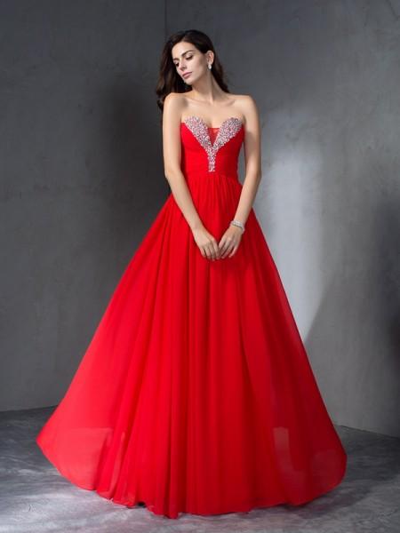 Trapèze/Princesse Col en coeur Perles Sans Manches Longue Mousseline Robes