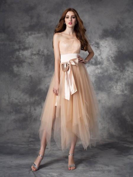 Trapèze/Princesse Sans bretelles Boucles Sans Manches Longue Satin stretch Robes