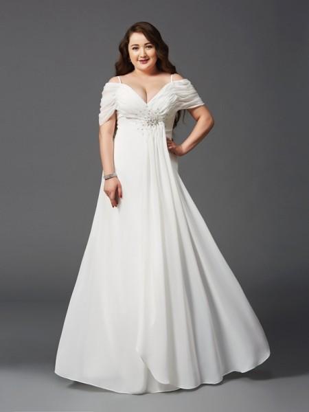Trapèze/Princesse Épaules dégagées Froncée Manches courtes Longue Mousseline Grande taille Robes