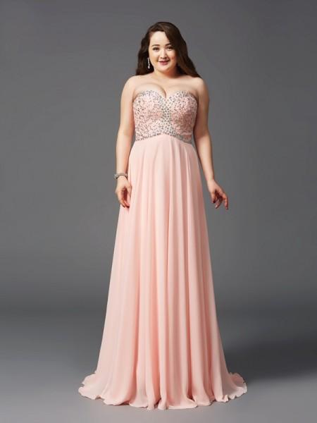 Trapèze/Princesse Col en coeur Perles Sans Manches Longue Mousseline Grande taille Robes
