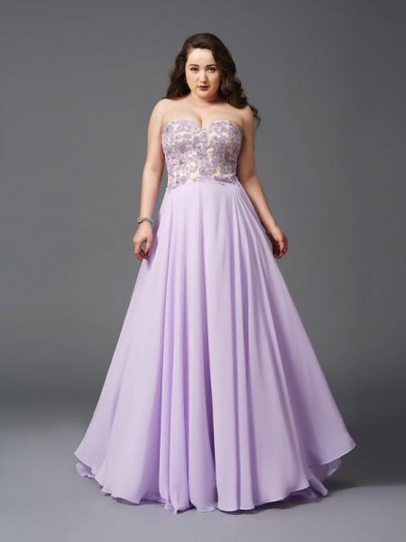 Trapèze/Princesse Col en coeur Dentelle Sans Manches Longue Mousseline Grande taille Robes