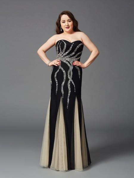 Fourreau Col en coeur Perles Sans Manches Longue Mousseline Grande taille Robes