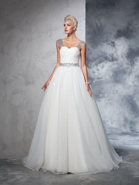 Robe de bal Avec bretelles Froncée Sans Manches Longue Voile Robes de Mariée