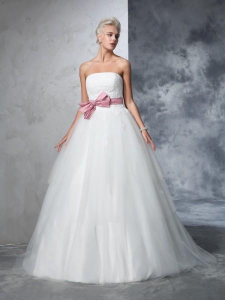 Robe de bal Sans bretelles Boucles Sans Manches Longue Voile Robes de Mariée