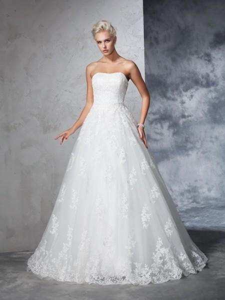 Robe de bal Sans bretelles Dentelle Sans Manches Longue Dentelle Robes de Mariée