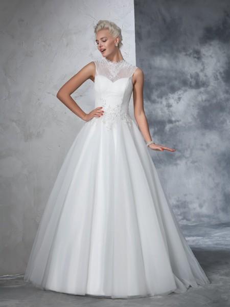Robe de bal Col montant Appliqués Sans Manches Longue Voile Robes de Mariée