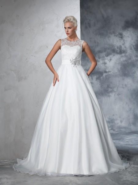 Robe de bal Sheer Neck Dentelle Sans Manches Longue Voile Robes de Mariée