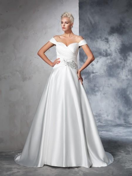 Robe de bal Épaules dégagées Froncée Sans Manches Longue Taffetas Robes de Mariée