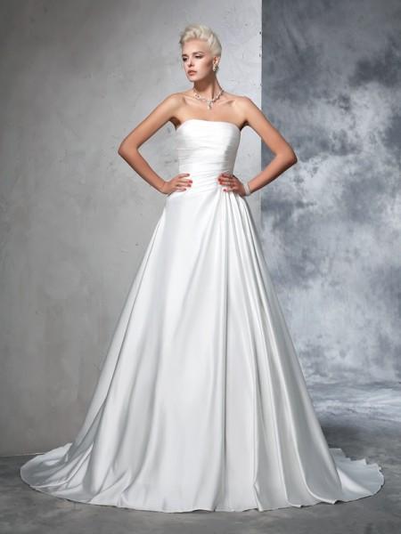 Robe de bal Sans bretelles Froncée Sans Manches Longue Satin Robes de Mariée