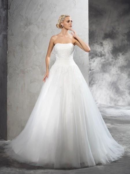 Robe de bal Sans bretelles Appliqués Sans Manches Longue Satin Robes de Mariée