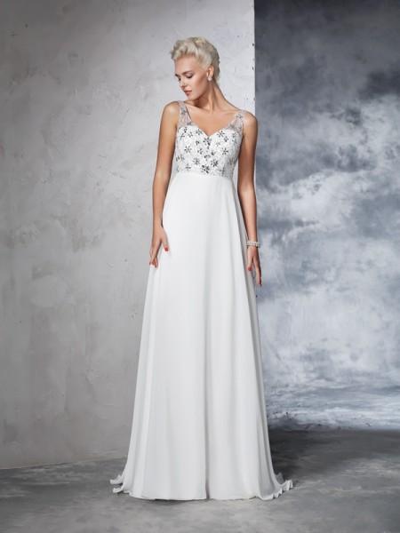 Trapèze/Princesse Col en V Perles Sans Manches Longue Mousseline Robes de Mariée