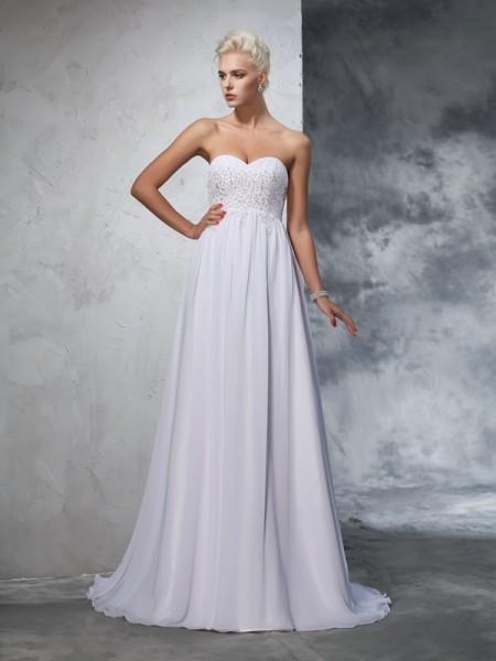 Trapèze/Princesse Col en coeur Perles Sans Manches Longue Mousseline Robes de Mariée