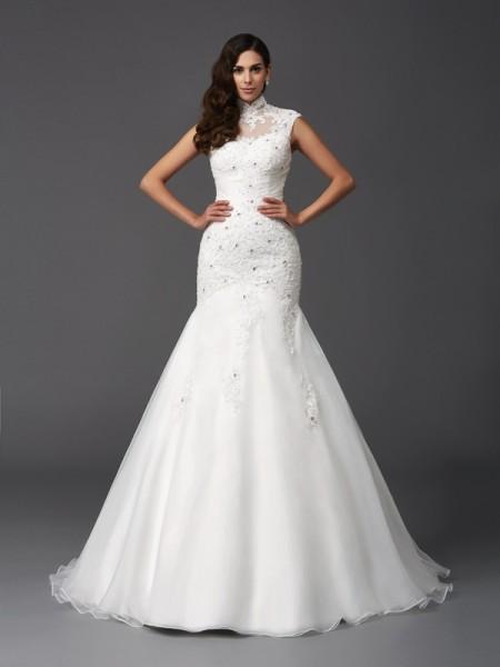Sirène/Trompette Col montant Perles Sans Manches Longue Organza Robes de Mariée