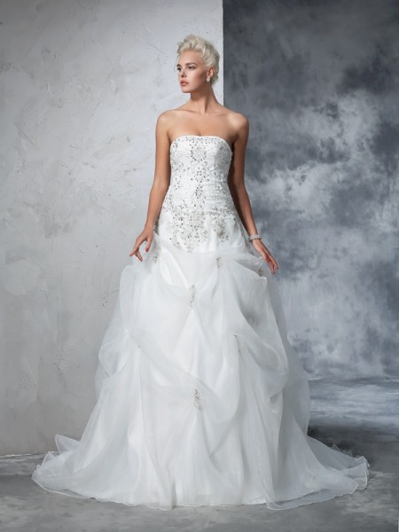 Robe de bal Sans bretelles Perles Sans Manches Longue Tulle Robes de Mariée
