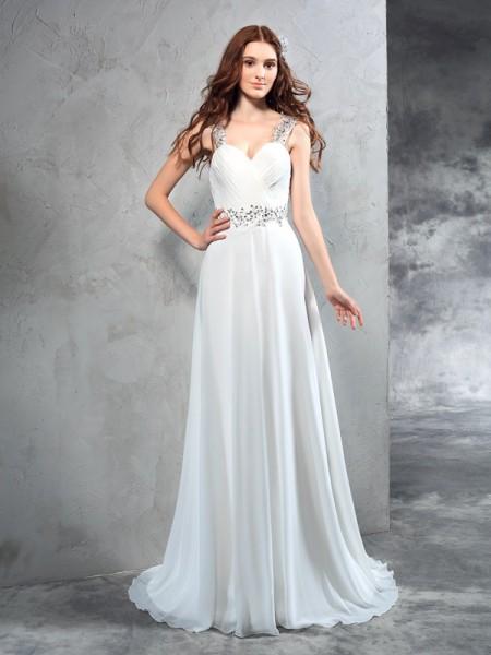 Trapèze/Princesse Col en coeur Plis Sans Manches Longue Mousseline Robes de Mariée