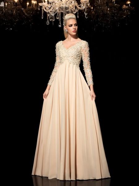 Trapèze/Princesse Col en V Appliqués Manches Longueues Longue Mousseline Robes