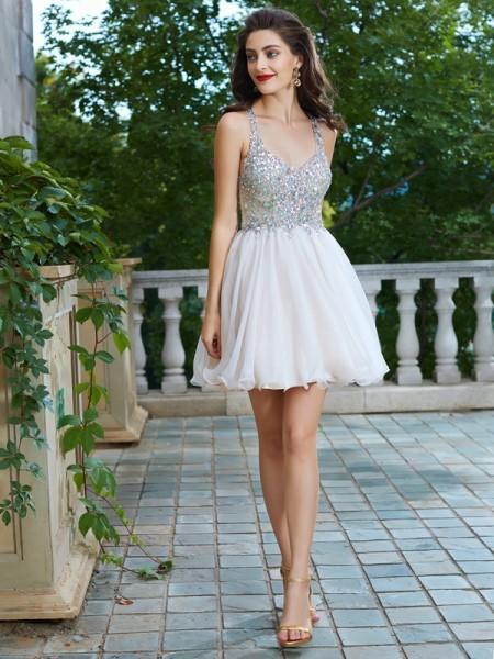 Trapèze/Princesse Avec bretelles Sans Manches Faux diamants Courte/Mini Mousseline Robes