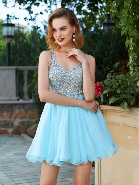 Trapèze/Princesse Sans Manches Faux diamants Avec bretelles Courte/Mini Mousseline Robes