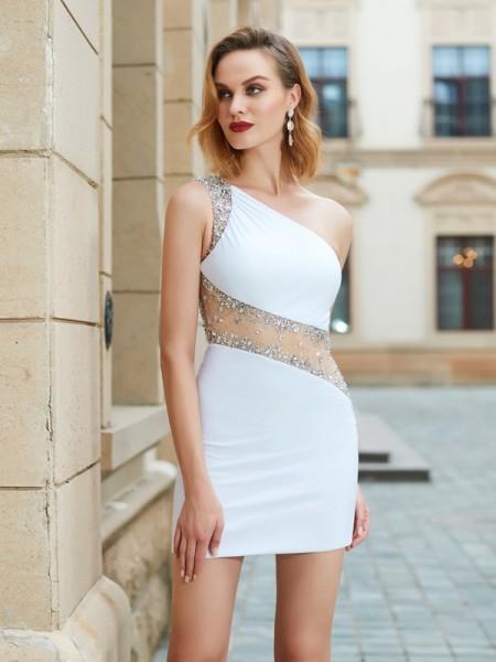 Fourreau Col asymétrique Perles Sans Manches Courte/Mini Voile Robes