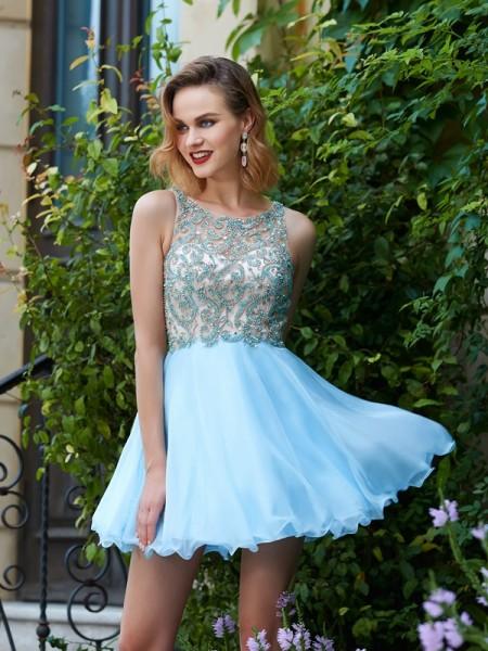 Trapèze/Princesse Col plongeant Sans Manches Mousseline Perles Courte/Mini Robes